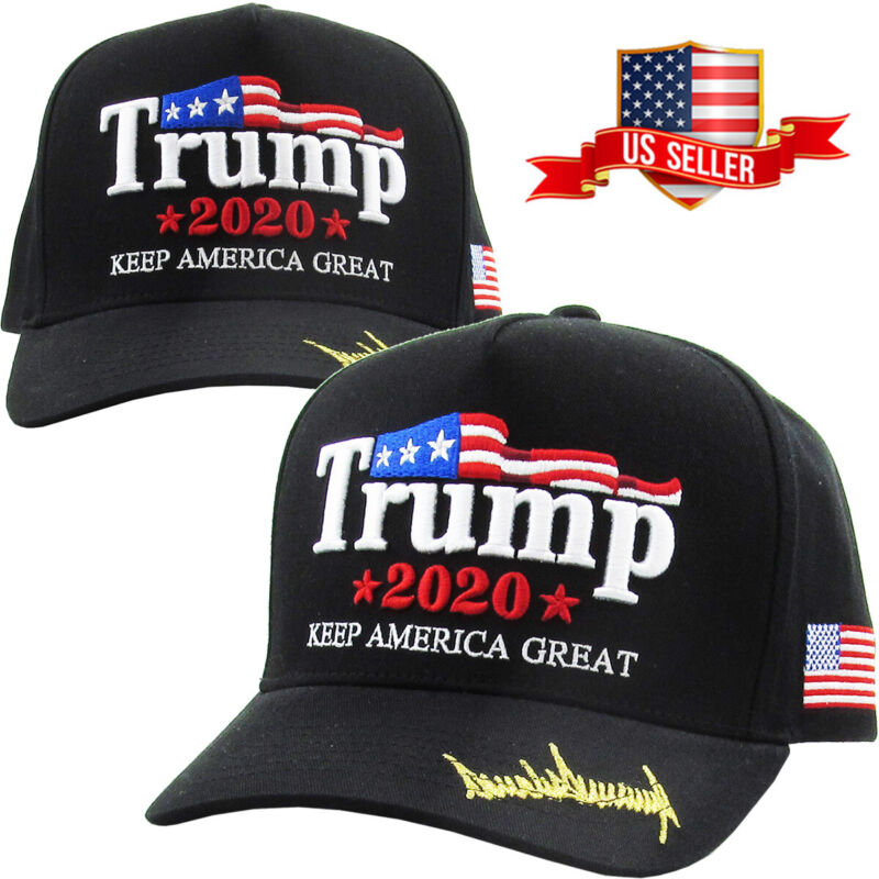 Trump 2020 Black Hat Cap Keep America Great Make America Great Again KAG MAGA