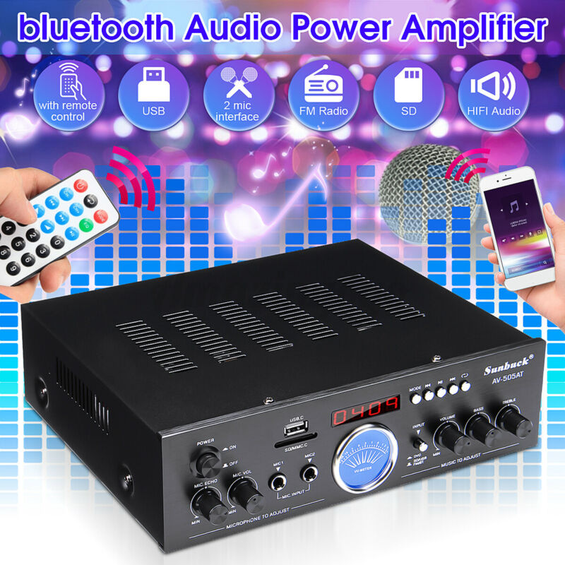 Sunbuck 2500W 110V bluetooth Power Amplifier Audio Stereo AMP Home FM AUX USB US