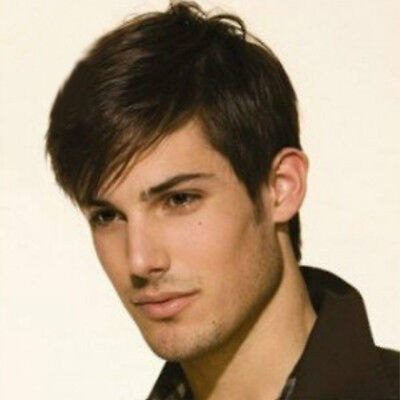 Men Hair Wig Natural Looking Wigs Mens Short Hair Straight Layered Style