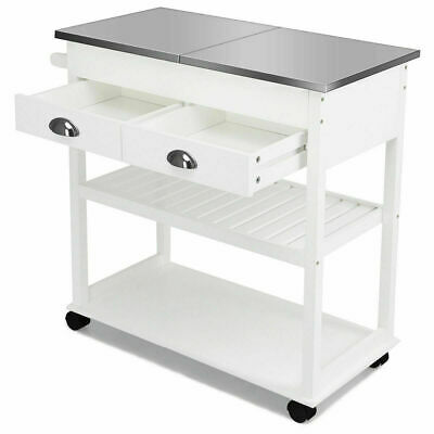 White Rolling Kitchen Island Trolley Cart Stainless Steel Home Tabletop w/Drawer