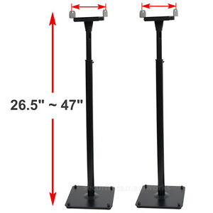 2-Surround-Sound-Bookshelf-Tilt-Speaker-Stands-Side-Clamp-Floor-Mounts-Black-BJR