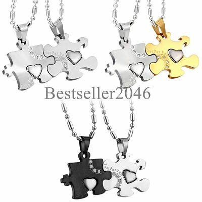 His and Hers Puzzle Piece Heart Couple Pendant Necklaces Promise Valentine - Puzzle Piece Heart