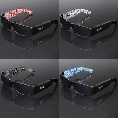 Square Locs Sunglasses Old School Men Dark Gangster Cholo Shades Bandana (Mens Square Printed Bandana)
