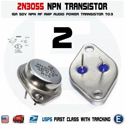 2pcs 2n3055 Npn Af Amp Audio Power Transistor 15a60v Bipolar To-3