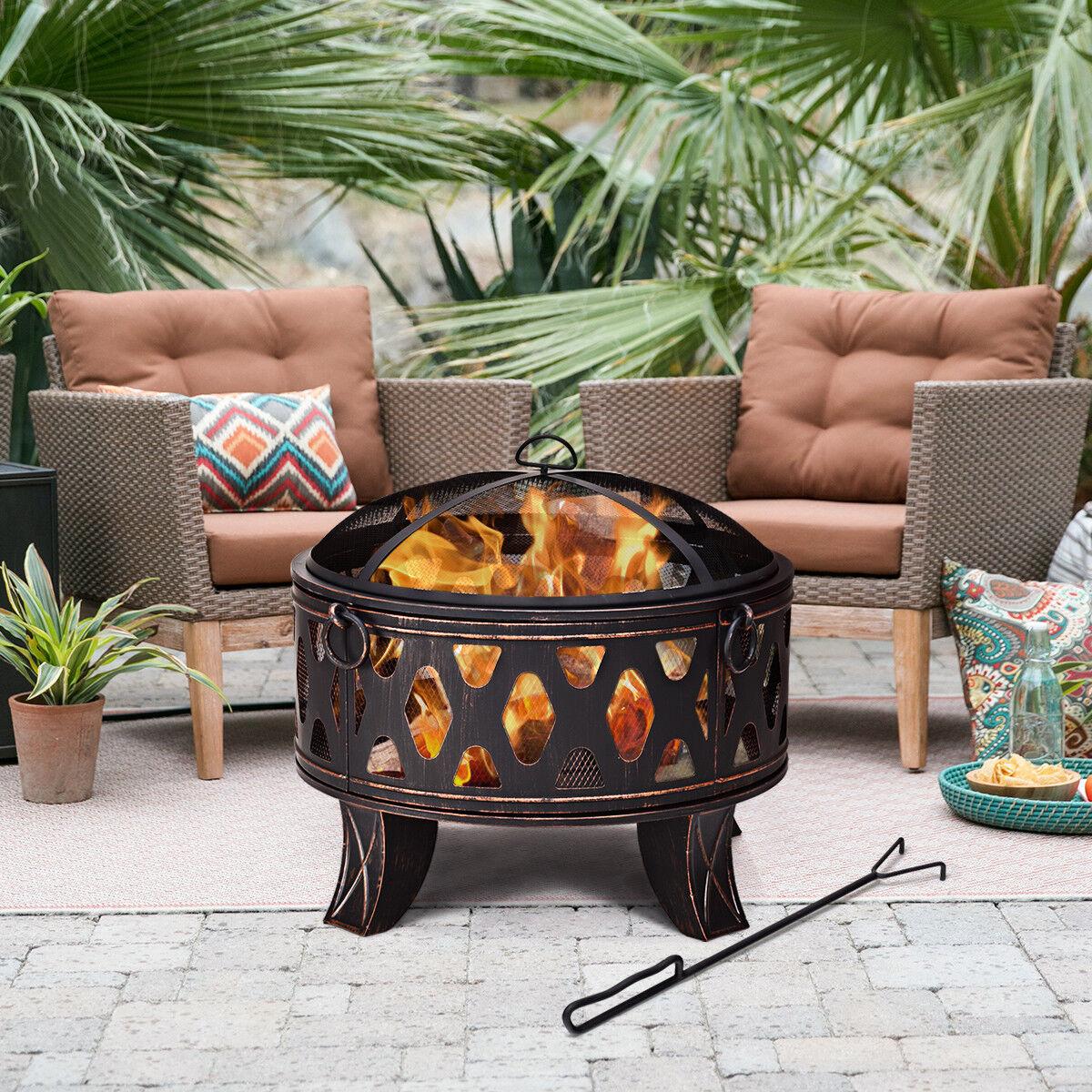 Feuerschale mit Funkenschutz Feuerstelle Ø 71 cm Feuerkorb Gartenfeuer Terrasse