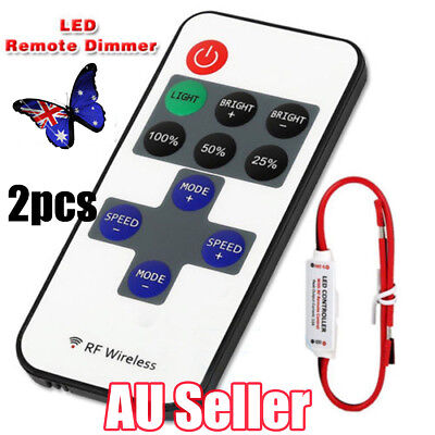 2X 12V RF Wireless Remote Switch LED Controller Mini Strip Light Dimmer 7 Modes