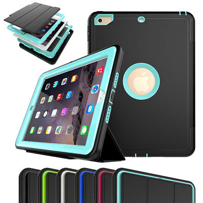 Hybrid Shockproof Flip Case Defender Cover For iPad 234/5 Mini 1234 Air 2 Pro