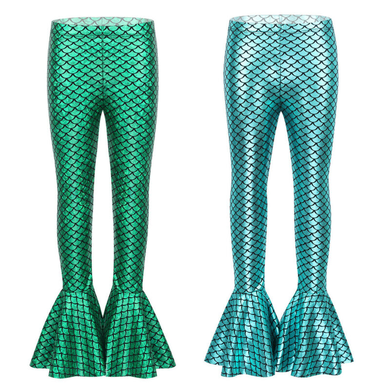 Hot Kid Baby Girl Mermaid Fish Scale Leggings Pants Trousers Toddler Bottoms