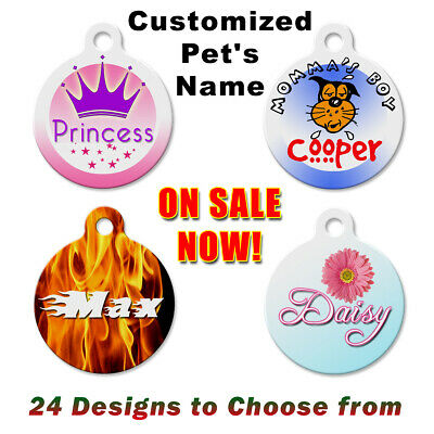 Personalized Pet Name Tags for Dog & Cat, Custom Designs Unique ID Tag  -