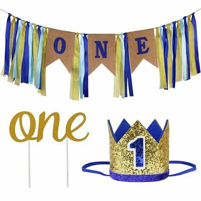Set For Boy 1st Birthday Decorations Party Supplies ONE Banner Crown Topper Blue - 1st Birthday Party Supplies For Boys