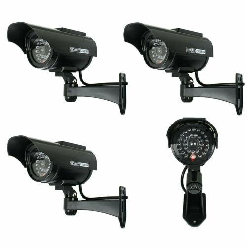 4X Solar Powered Dummy Surveillance Security Camera CCTV LED Record Light -Black