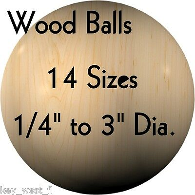 "WOOD BALLS { Hardwood ~ USA Made } 1/4"" to 3"" Diameter { 13"
