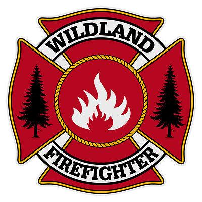 Wildland Firefighter Small Maltese Cross Reflective Helmet Decal Sticker
