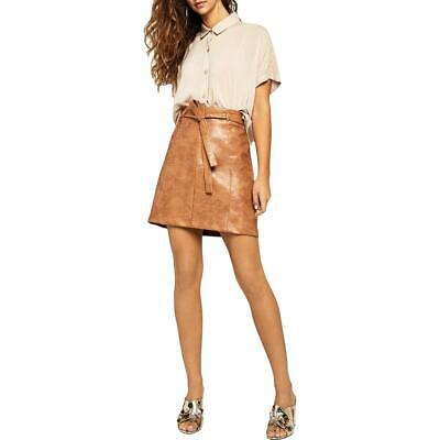 BCBGeneration Womens Tan Faux Leather Tie Waist A-Line Mini Skirt 0 BHFO 5977