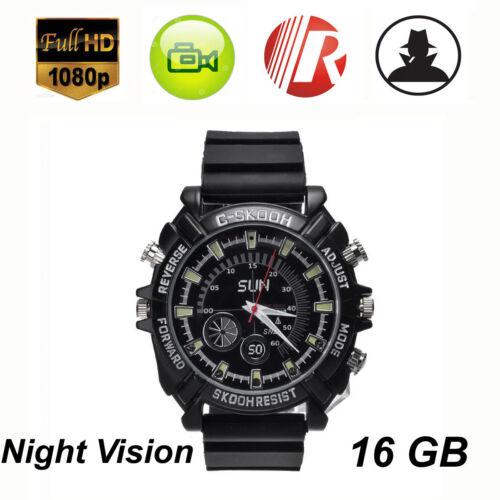 1080P 16G Spy Watch Camera Night Vision Waterproof Hidden camcorder Pinhole DVR