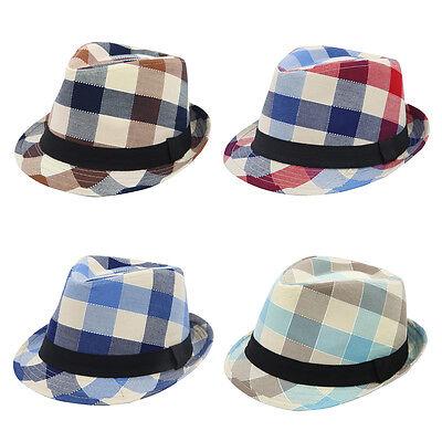 Premium Multi Color Plaid Stitch Black Band Fedora Hat - Different Colors - Multi Color Stitch