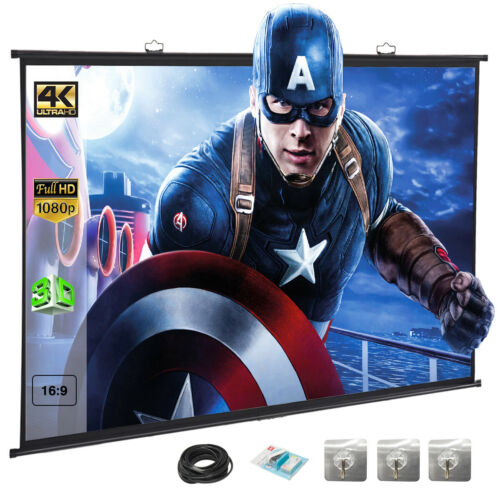 "120"" 16:9 Portable Projector Screen Hanging HD Home Theater"