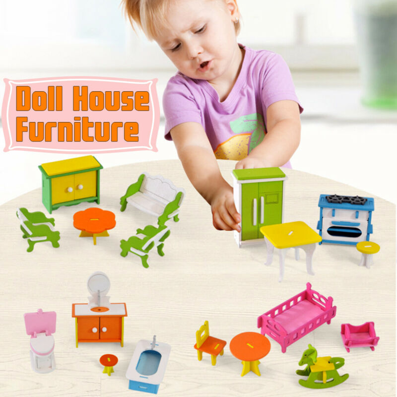Miniature Wooden Toy Doll House Furniture Bathroom/Kitchen/Living Room Kids Gift