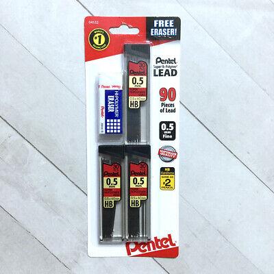Pentel 0.5mm Fine Lead Refills For Mechanical Pencil Bonus Eraser Hi-polymer