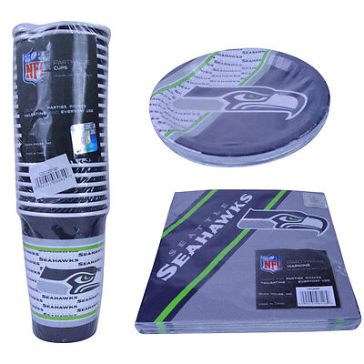 NFL New Seattle Seahawks 60pc Disposable Paper Plates Cups Napkin Party Supplies