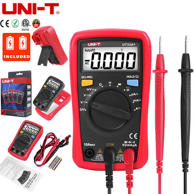 Uni-t Ut33a Lcd Digital Multimeter Handheld Auto Range Acdc Ohm Voltage Tester