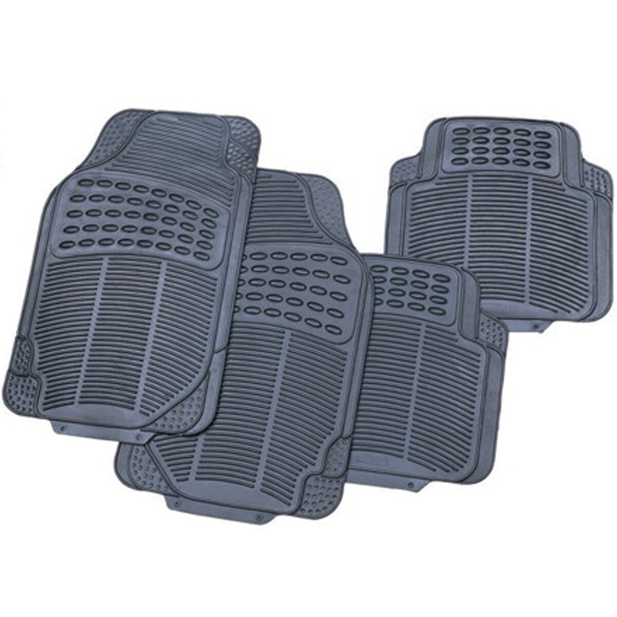 Car Parts - 4 PIECE HEAVY DUTY UNIVERSAL BLACK RUBBER CAR MAT SET NON SLIP GRIP VAN MATS