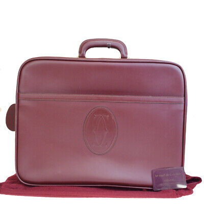 Auth Must De Cartier 2C Logos Travel Briefcase Hand Bag Leather Bordeaux 63R121 for sale  Shipping to United States