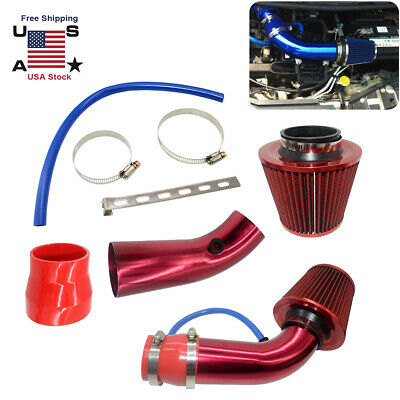 """3"""" Universal Car Cold Air Intake Kit Filter Red With Clamp & Accessories US"""