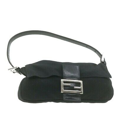 FENDI Mamma Baguette Shoulder Bag Black Nylon Auth **Sticky ar3714