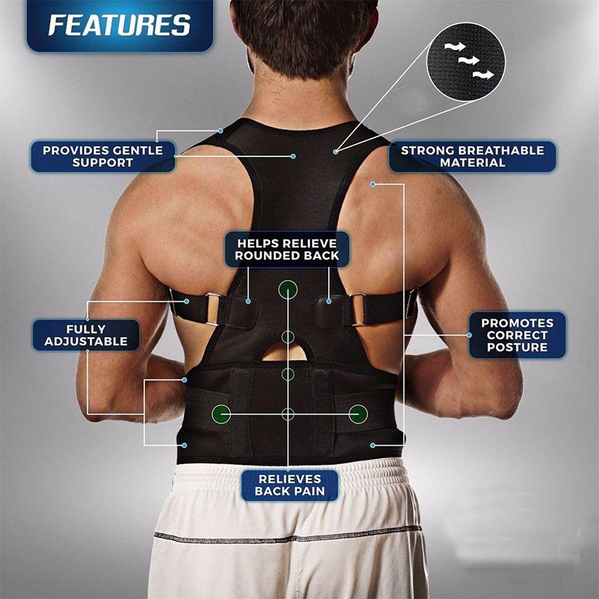 Posture Corrector Support Magnetic Lumbar Back Shoulder Brace Belt For Adult US - $10.07