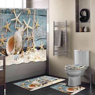Halloween Shower Curtain Set (4pcs Set Bathroom Polyester Shower Curtain Toilet Cover Rugs Mat Halloween)