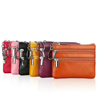 Women's Leather Card Coin Key Holder Zip Wallet Pouch Bag Purse with Key Ring
