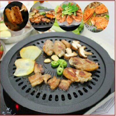 Round Iron Korean BBQ Grill Plate Barbecue Non-stick Pan  wi