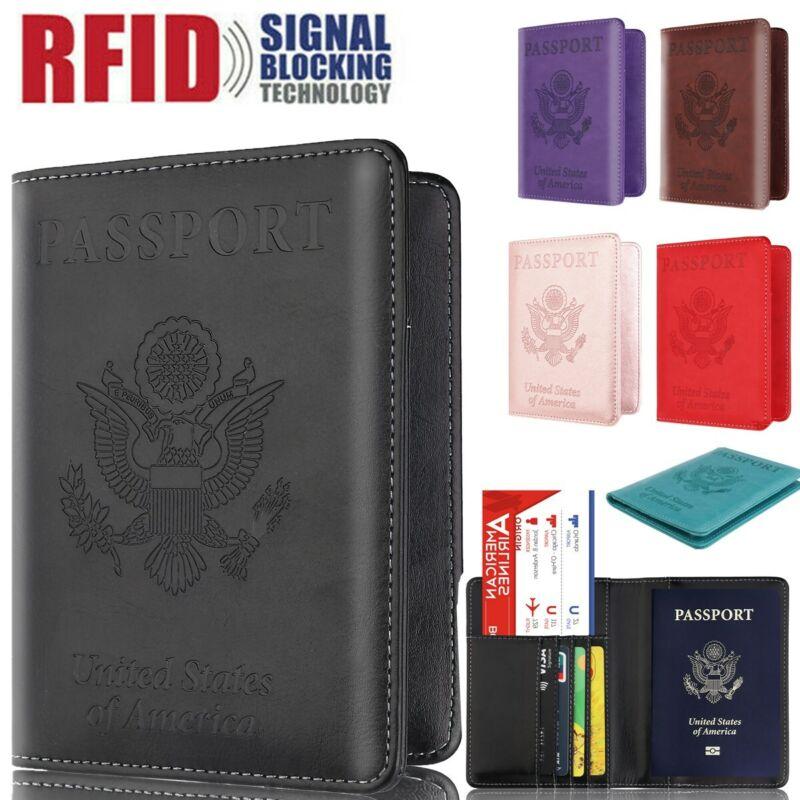 Wallet Holder Slim Leather Travel Passport  RFID Blocking ID Card Case Cover US