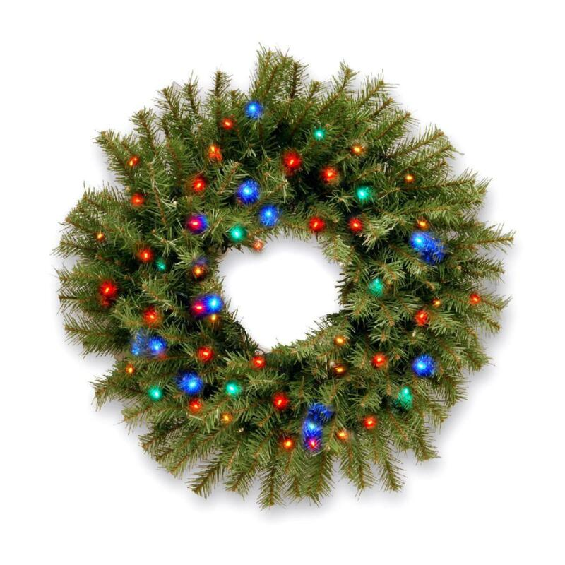 Multicolor LED Lights 36 In Christmas Decor Wreath Non Allergenic Indoor Outdoor