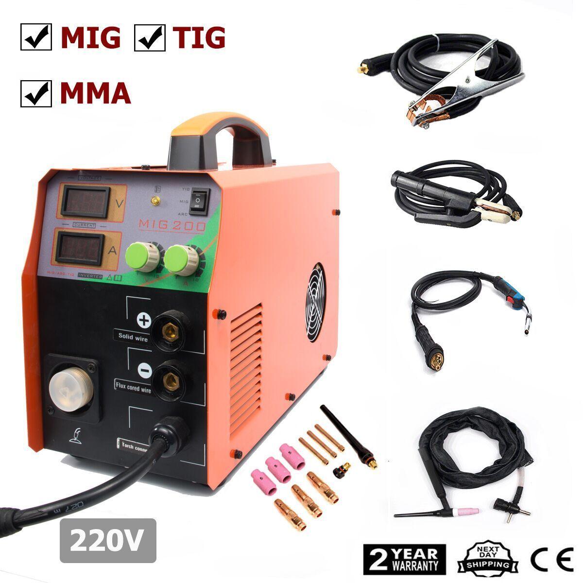 Details about MIG200 200Amp welder Inverter Mig Welding Machine Stick MMA &  TIG 3in1 &torch