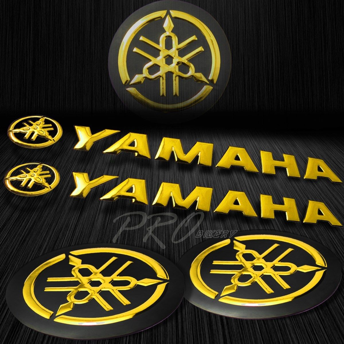 Details about 5 75 chromed logo letter decal 3d glossy fairing emblem sticker for yamaha gold