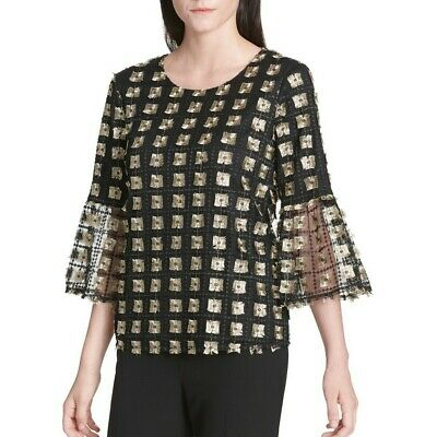 CALVIN KLEIN Women's Metallic Embroidered Bell-sleeve Blouse Shirt Top TEDO