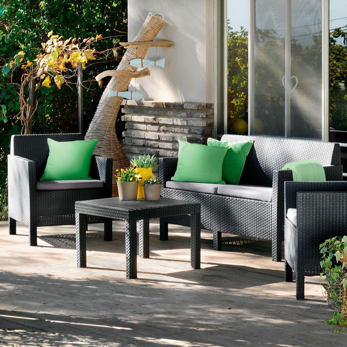 Garden Furniture - RATTAN GARDEN FURNITURE SET 4 PIECE CHAIRS SOFA TABLE OUTDOOR PATIO CONSERVATORY
