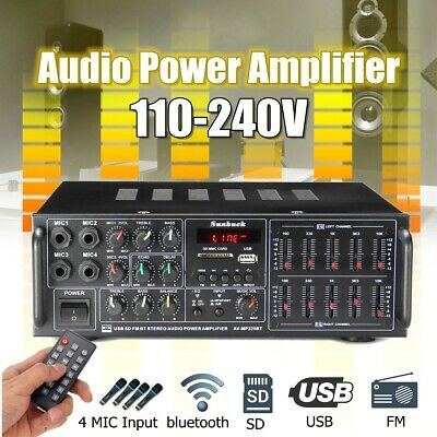 325BT 2000W Digital bluetooth Stereo Power Amplifier Home Audio 2Ch AMP EQ FM SD