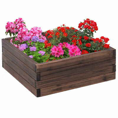 Garden Bed Square Raised  Flower Vegetables Seeds Planter Kit Elevated Box](Wood Planter Boxes)