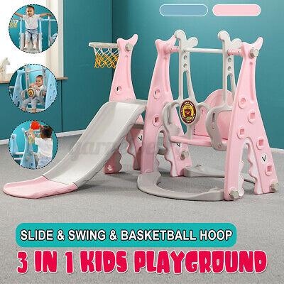 Toddler Slide & Swing Set Kids Playset Playground Toy w/Bask