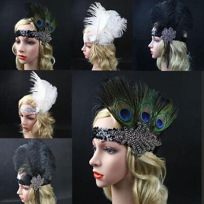 Feder Stirnband Haarband 1920s Charleston 20er Gatsby Kostüm Kopfband Kopfschmuc (Haar Band Kostüm)