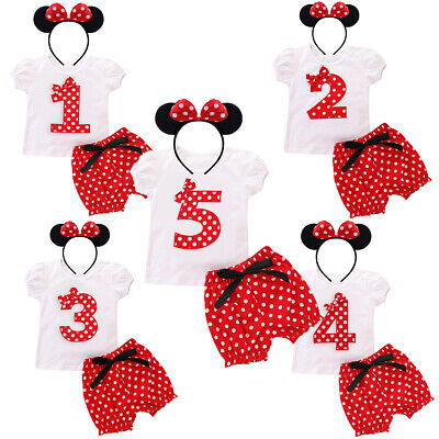 Girl Minnie Mouse Costume 1st Birthday Party Cake Smash Dress Outfits Photo Prop