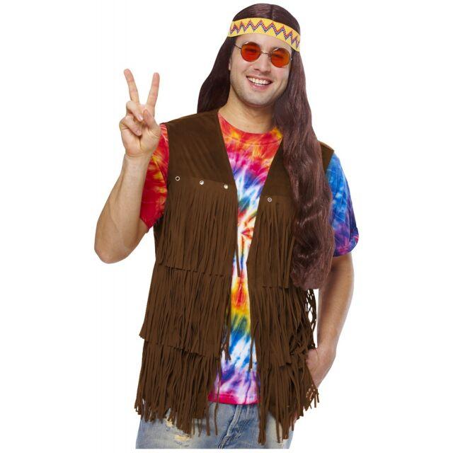 fringe vest hippie costume adult mens 60s halloween fancy dress - Halloween Bullet Proof Vest