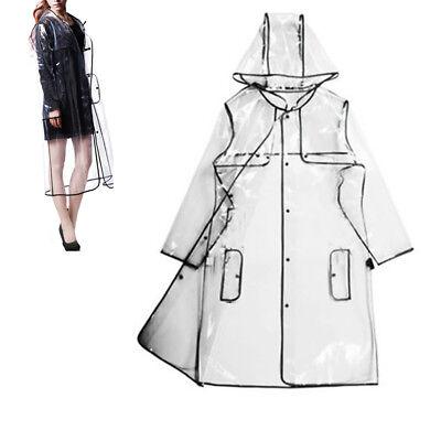 Transparent Hoodie Clear Rainwear Runway Raincoat Women Girls Men Rain Coat New