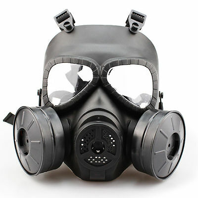New Gas Mask Double Filter Fan Perspiration Dust Eye Protect Face Guard Black