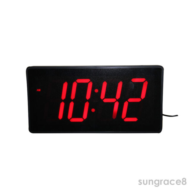 Red LED Digital Wall Clock With Date Temperature Kiosk Cafe Bar