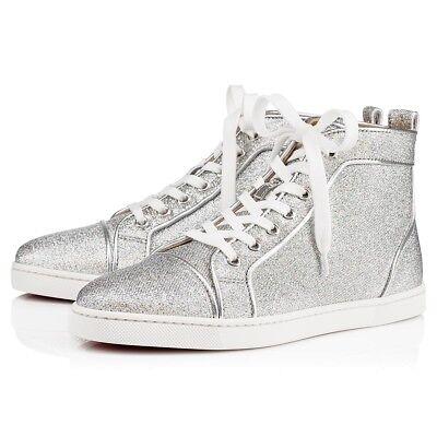 NIB Christian Louboutin Bip Bip Orlato Silver Lurex Flat High Top Sneakers 40