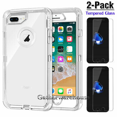 Clear Case and 2 PacK Glass Screen Protectors for iPhone XR Xs Max 6 6S 7 8 Plus